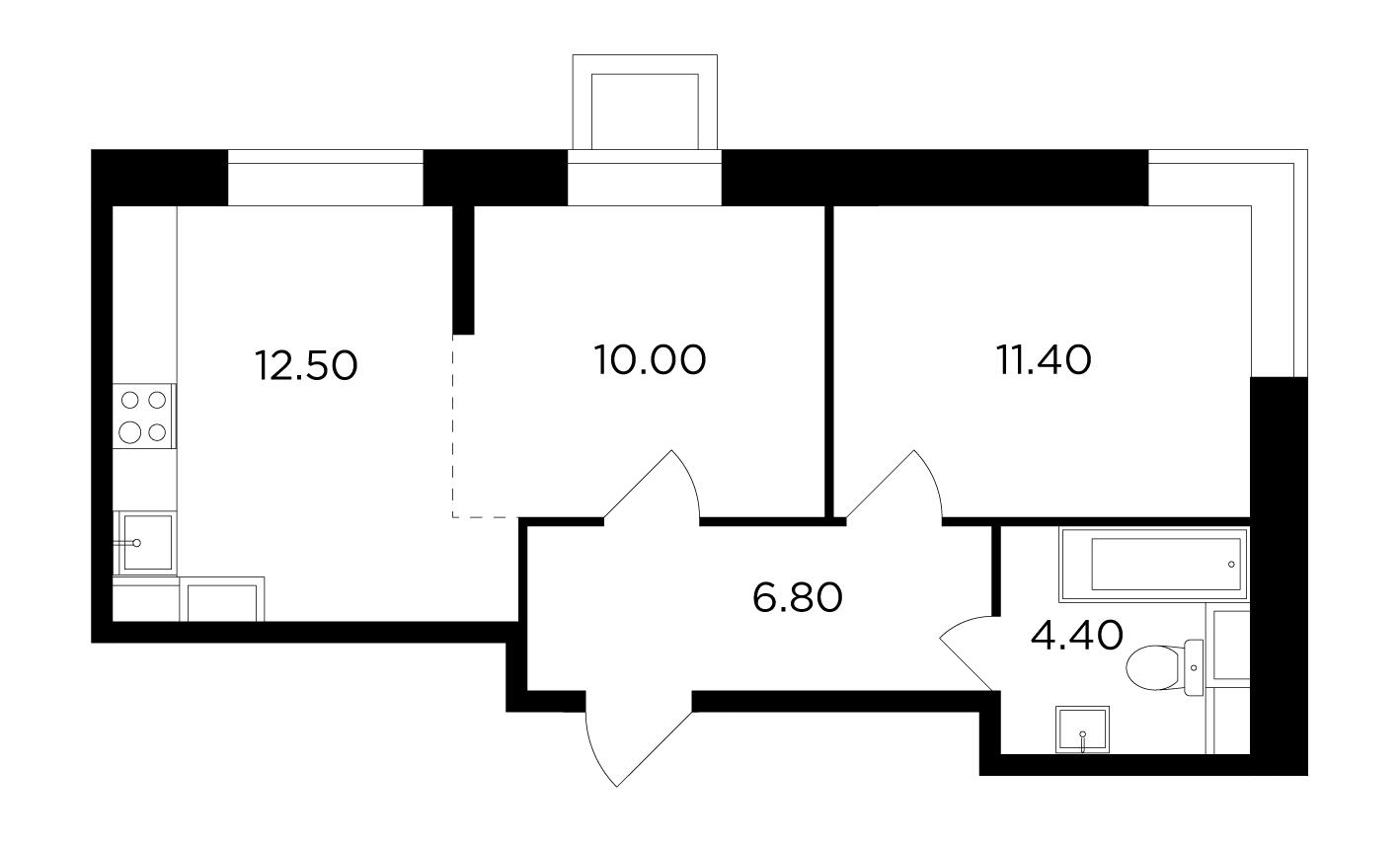 Продаётся 2-комнатная квартира в новостройке 45.1 кв.м. этаж 1/15 за 5 631 862 руб