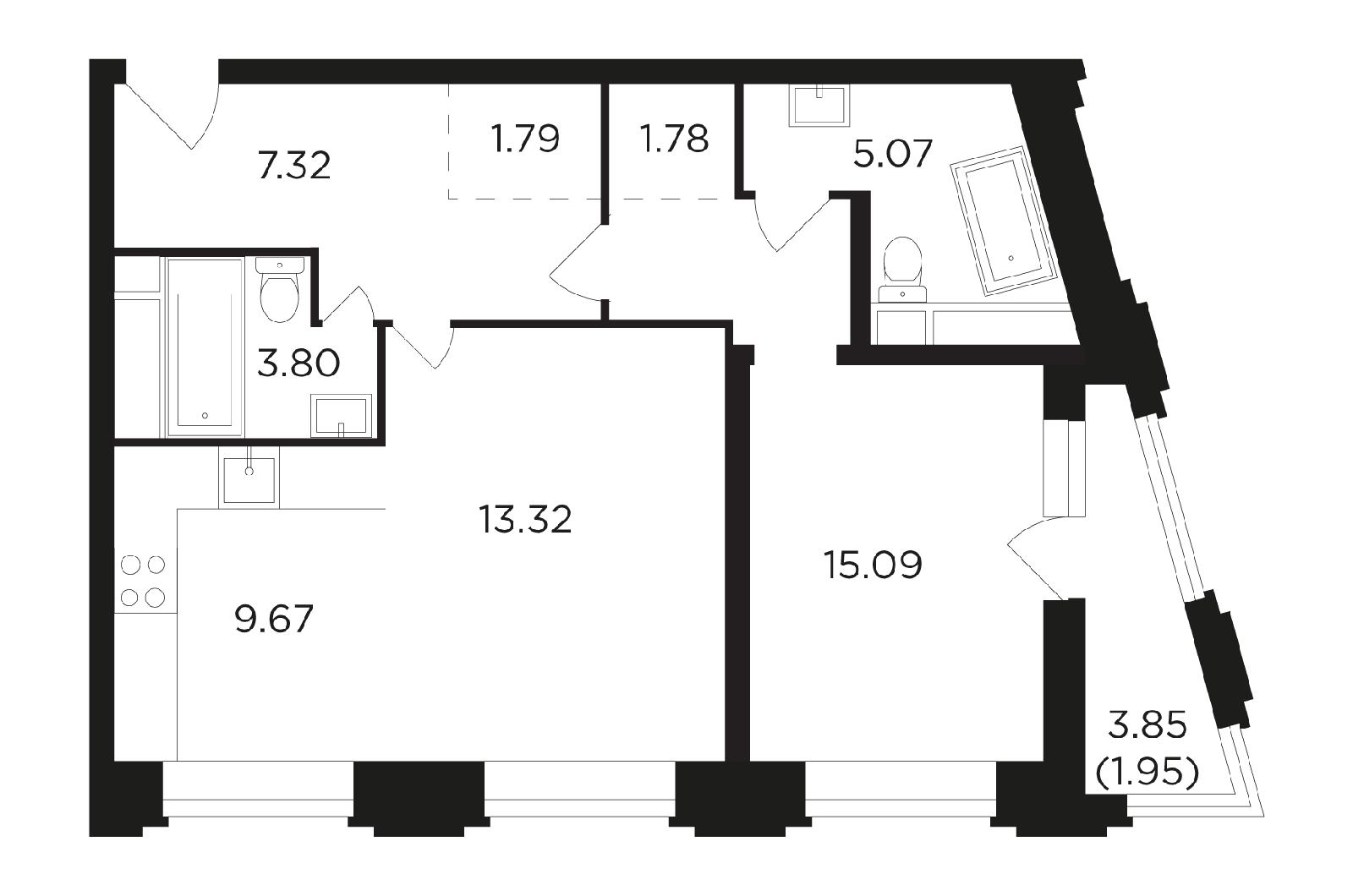 Продаётся 2-комнатная квартира в новостройке 59.7 кв.м. этаж 12/27 за 11 910 090 руб