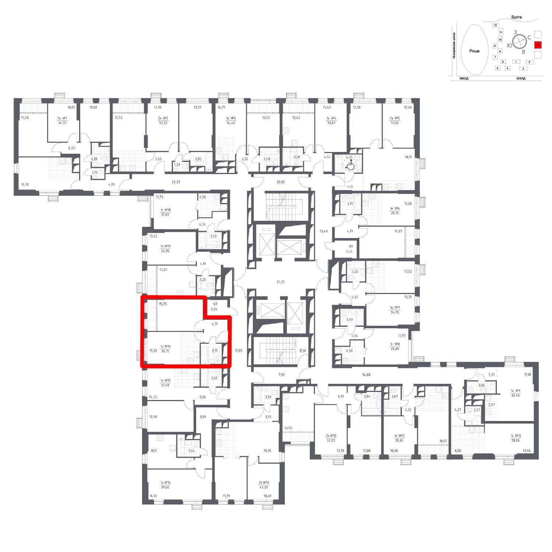 Продаётся 1-комнатная квартира в новостройке 38.8 кв.м. этаж 9/31 за 6 126 995 руб