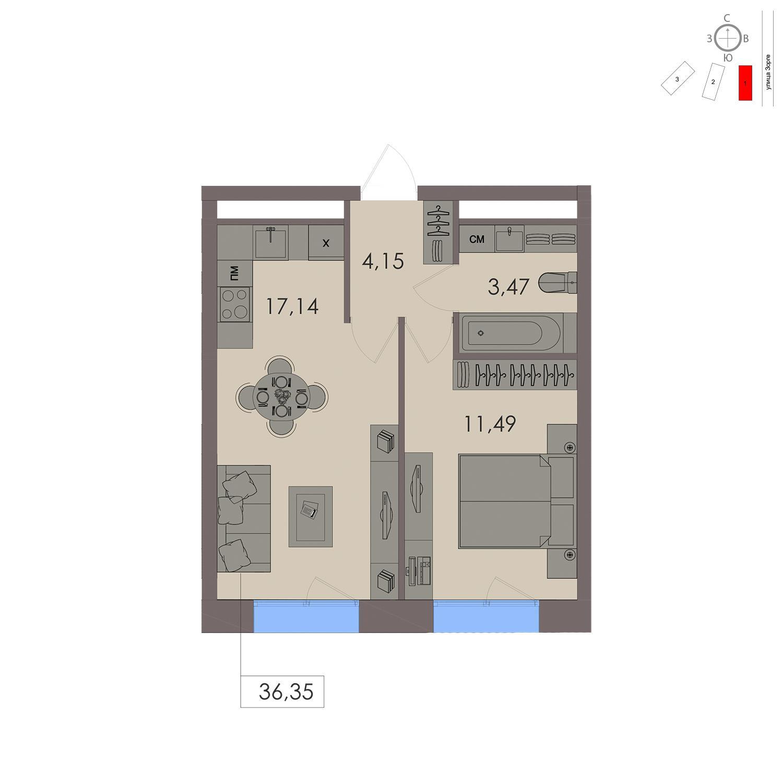 Продаётся 1-комнатная квартира в новостройке 36.4 кв.м. этаж 16/21 за 10 630 300 руб