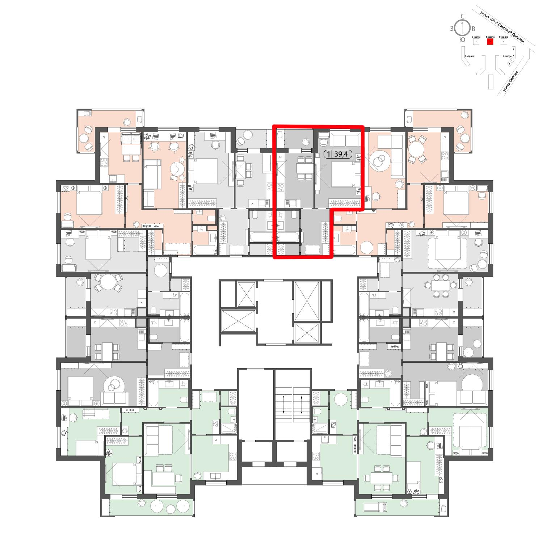 Продаётся 1-комнатная квартира в новостройке 39.4 кв.м. этаж 22/22 за 0 руб