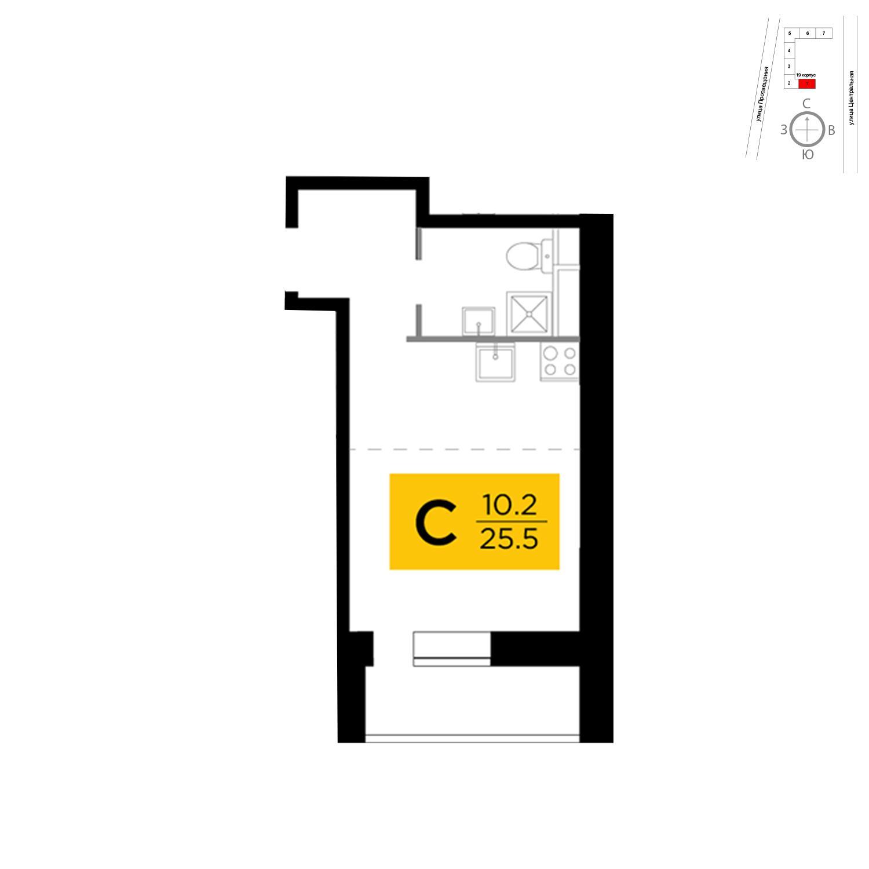 Продаётся  квартира-студия 25.5 кв.м. этаж 5/15 за 4 002 152 руб