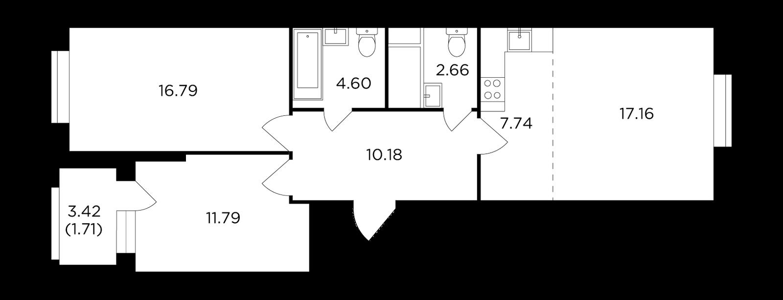 Продаётся 3-комнатная квартира в новостройке 72.6 кв.м. этаж 26/30 за 19 452 781 руб