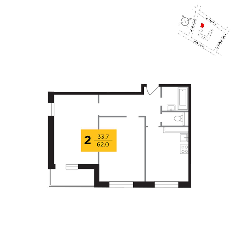 Продаётся 2-комнатная квартира в новостройке 62.0 кв.м. этаж 17/19 за 12 109 500 руб
