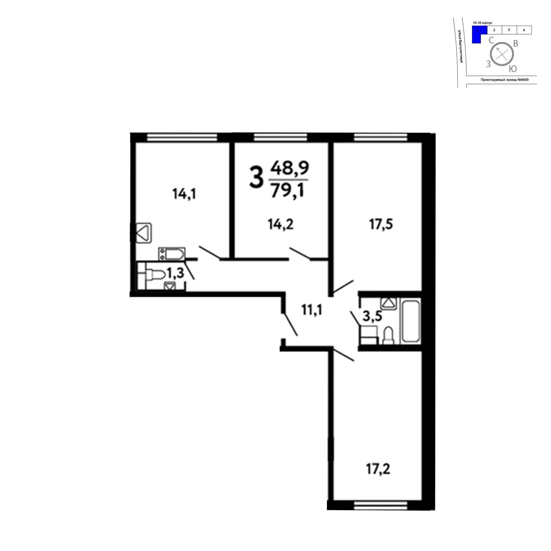 Продаётся 3-комнатная квартира в новостройке 79.1 кв.м. этаж 13/17 за 8 645 630 руб