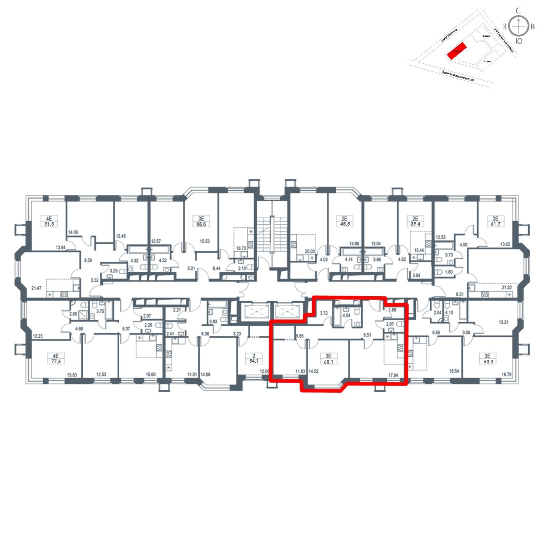 Продаётся  квартира-студия 68.1 кв.м. этаж 17/21 за 17 304 210 руб