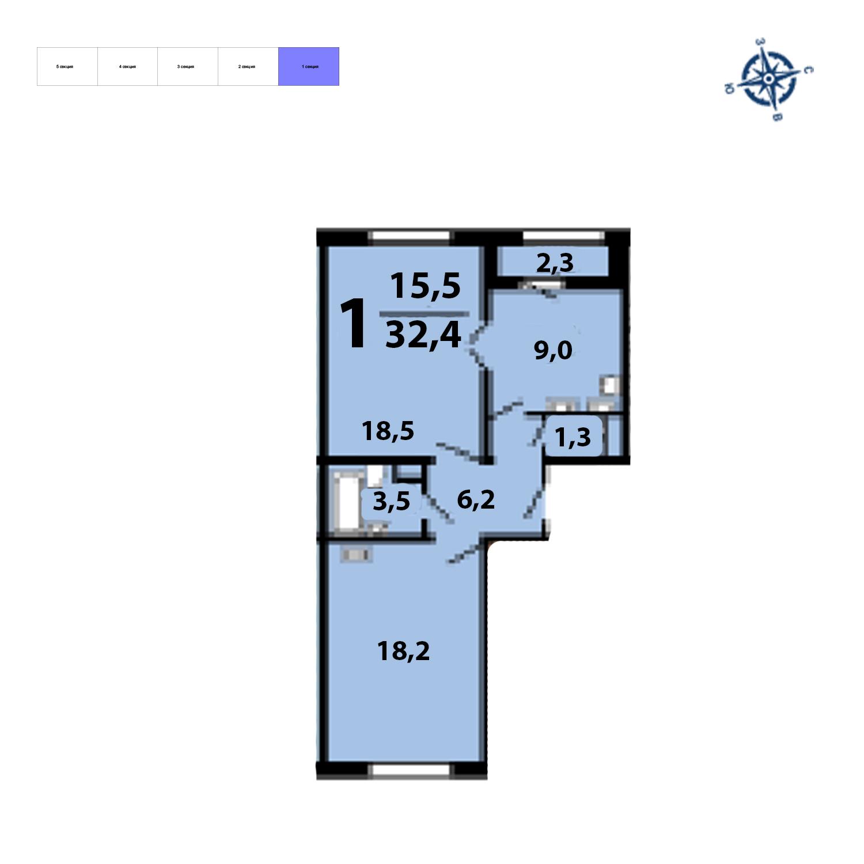 Продаётся 2-комнатная квартира в новостройке 58.0 кв.м. этаж 14/17 за 7 154 300 руб