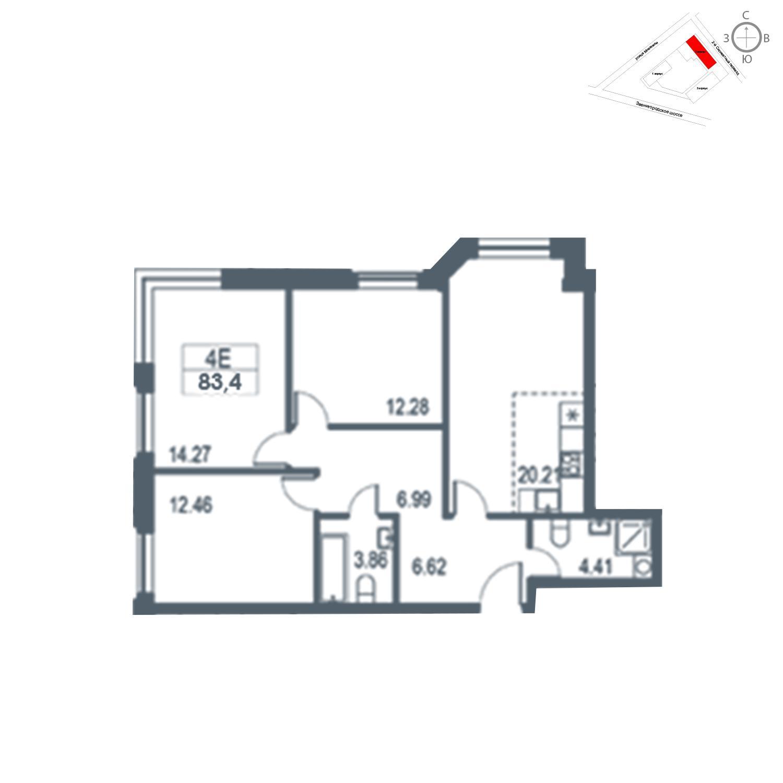 Продаётся 4-комнатная квартира в новостройке 83.4 кв.м. этаж 12/21 за 17 580 720 руб