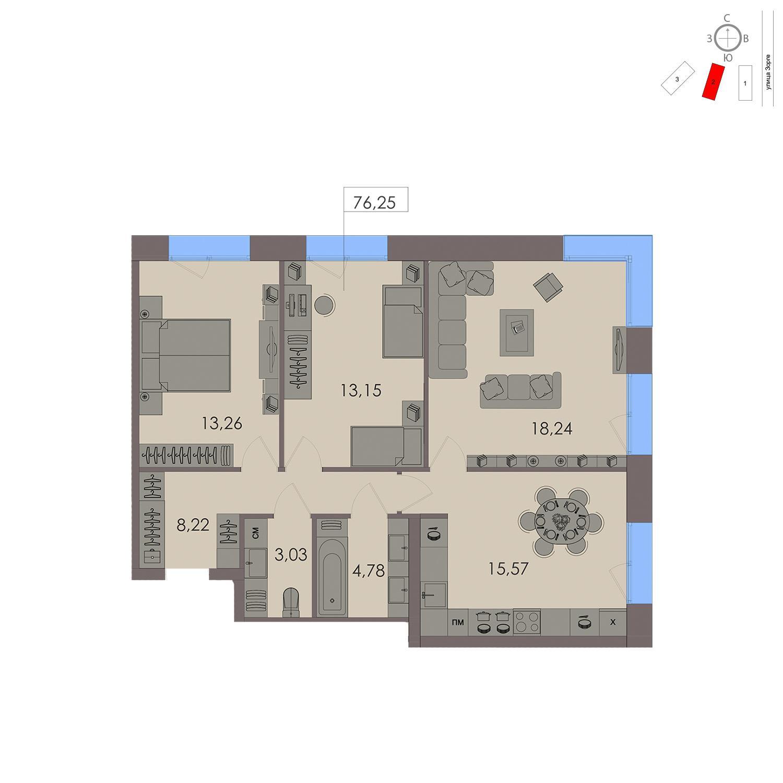 Продаётся 3-комнатная квартира в новостройке 76.3 кв.м. этаж 14/21 за 22 952 200 руб