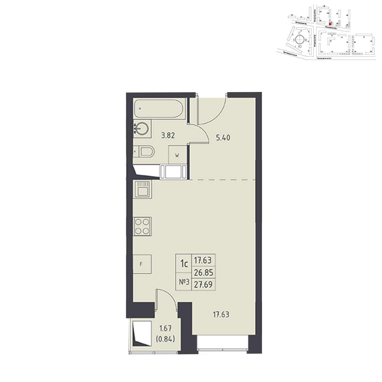 Продаётся  квартира-студия 27.0 кв.м. этаж 13/17 за 3 614 544 руб