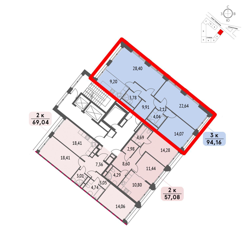 Продаётся 3-комнатная квартира в новостройке 94.2 кв.м. этаж 5/32 за 22 975 040 руб