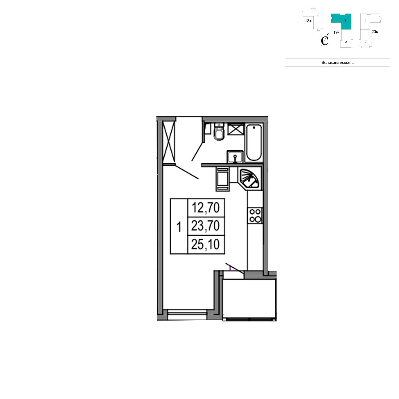 Продаётся  квартира-студия 25.1 кв.м. этаж 8/24 за 3 141 442 руб
