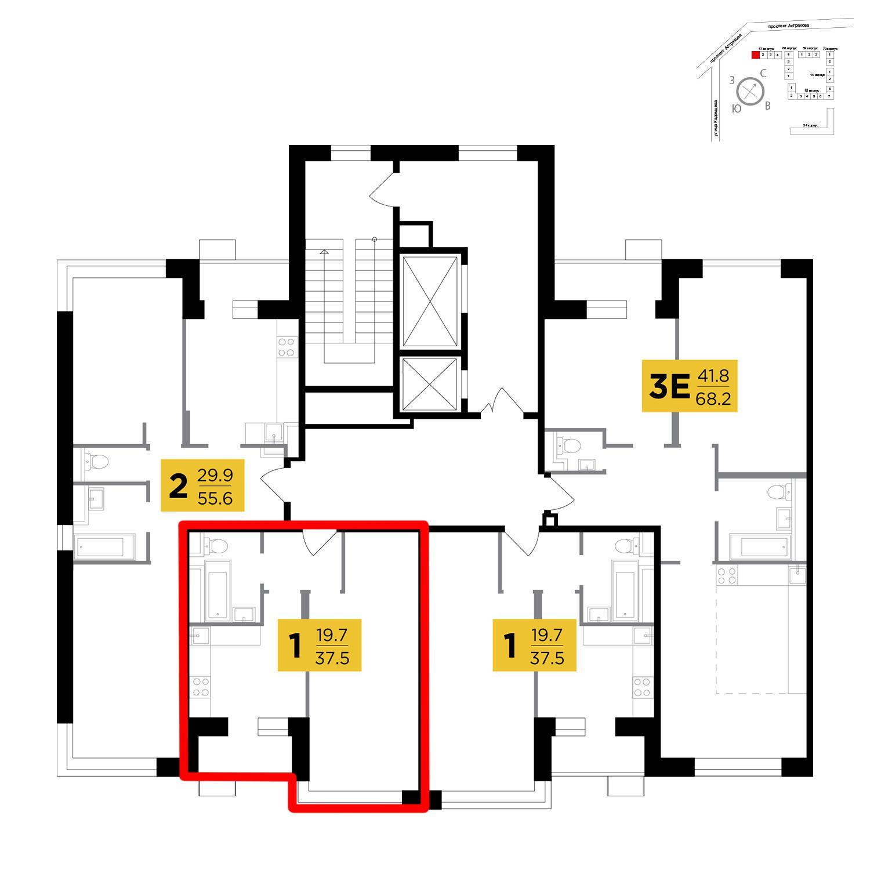 Продаётся 1-комнатная квартира в новостройке 37.5 кв.м. этаж 2/18 за 4 252 500 руб