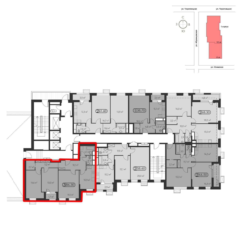 Продаётся 3-комнатная квартира в новостройке 86.3 кв.м. этаж 10/12 за 20 776 725 руб