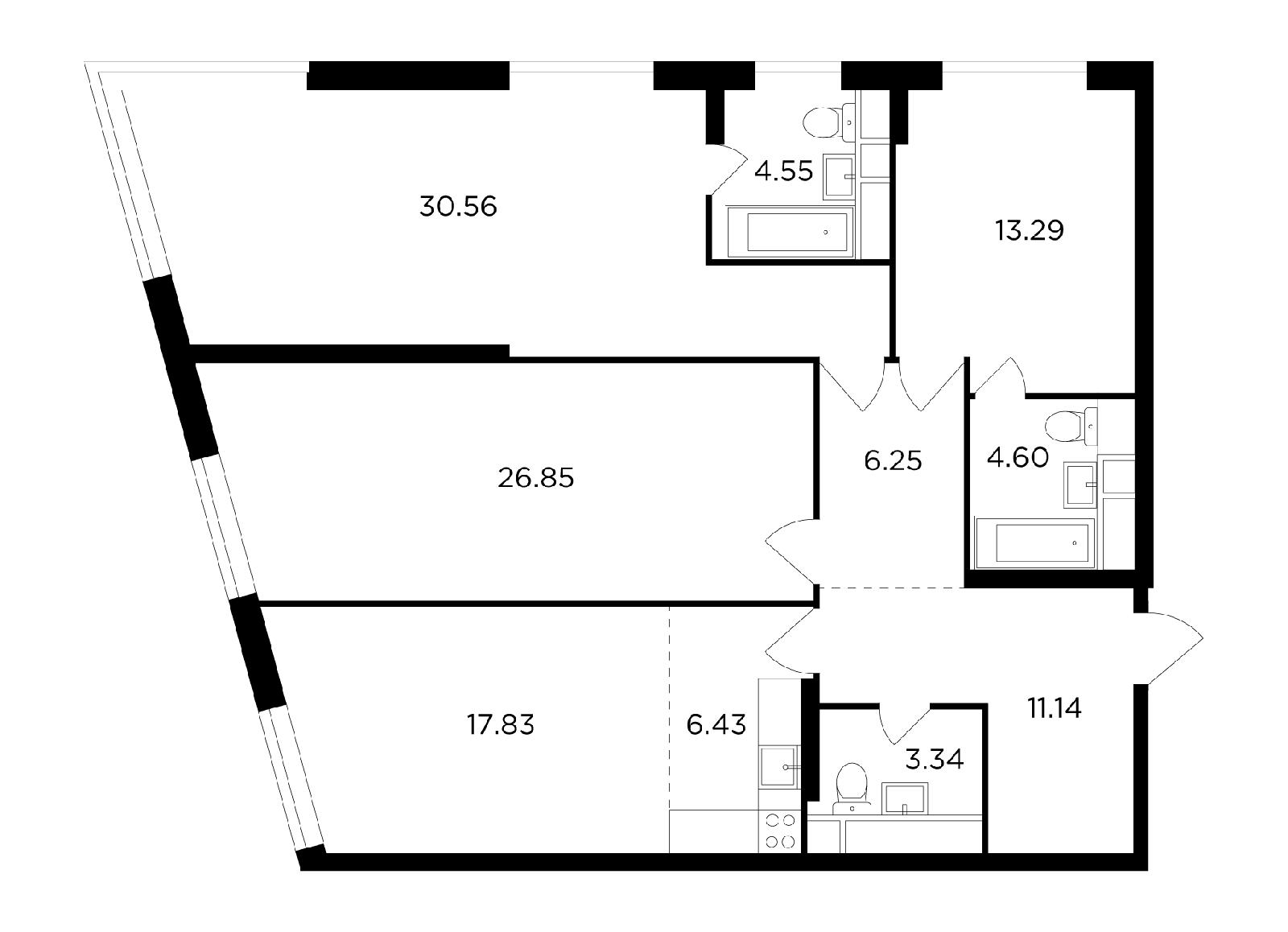 Продаётся 4-комнатная квартира в новостройке 124.8 кв.м. этаж 24/29 за 27 607 791 руб