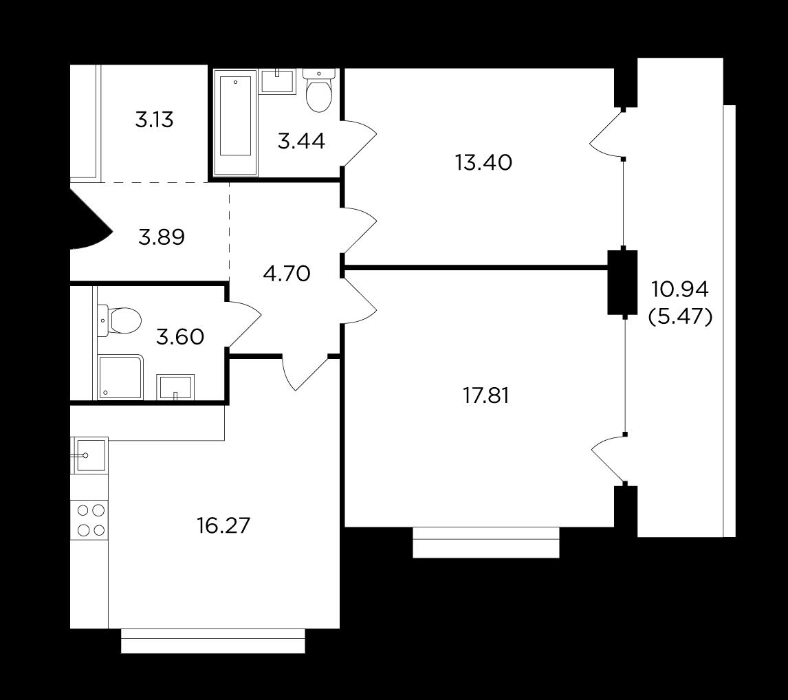 Продаётся 2-комнатная квартира в новостройке 71.7 кв.м. этаж 6/29 за 25 136 506 руб