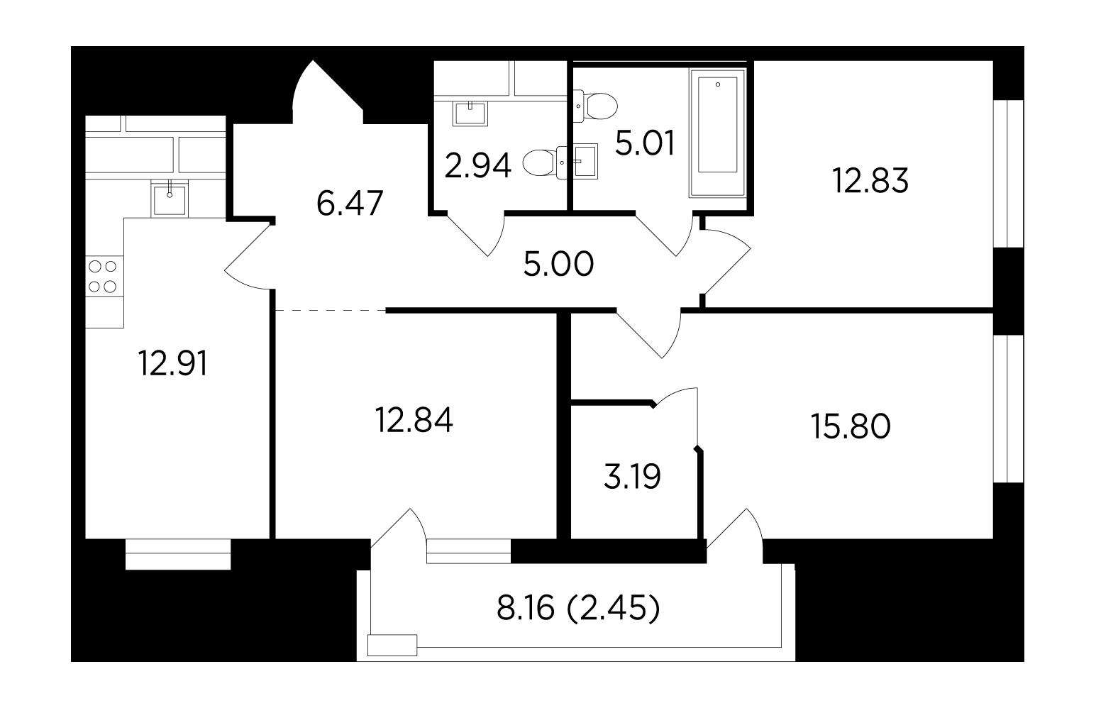 Продаётся 3-комнатная квартира в новостройке 79.4 кв.м. этаж 24/25 за 13 874 672 руб