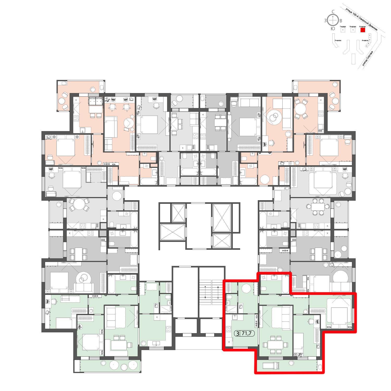 Продаётся 3-комнатная квартира в новостройке 71.7 кв.м. этаж 2/22 за 0 руб