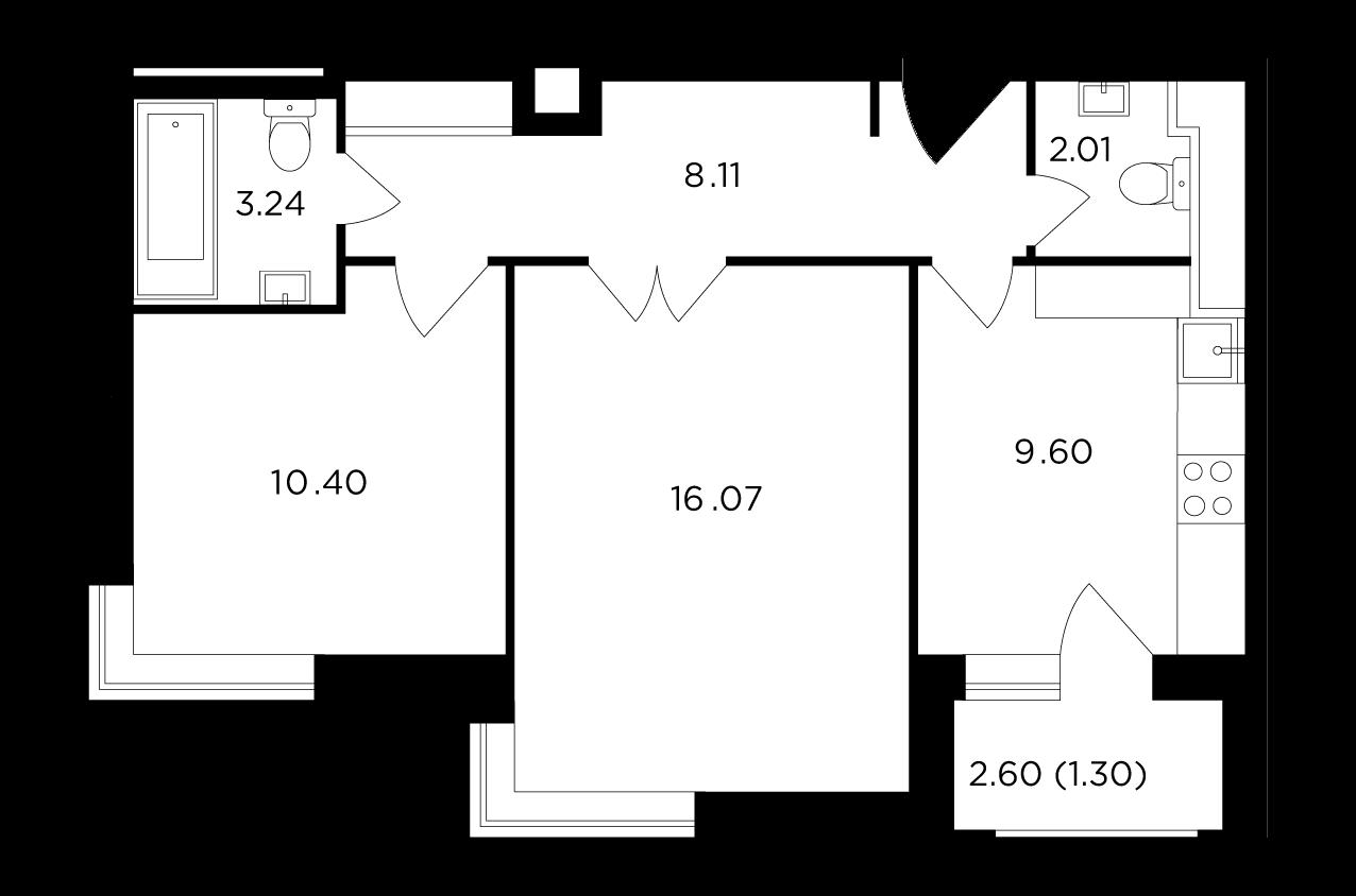 Продаётся 2-комнатная квартира в новостройке 50.7 кв.м. этаж 12/25 за 7 169 924 руб