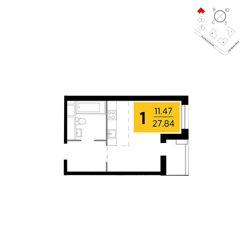 Продаётся 1-комнатная квартира в новостройке 27.8 кв.м. этаж 8/25 за 3 668 142 руб