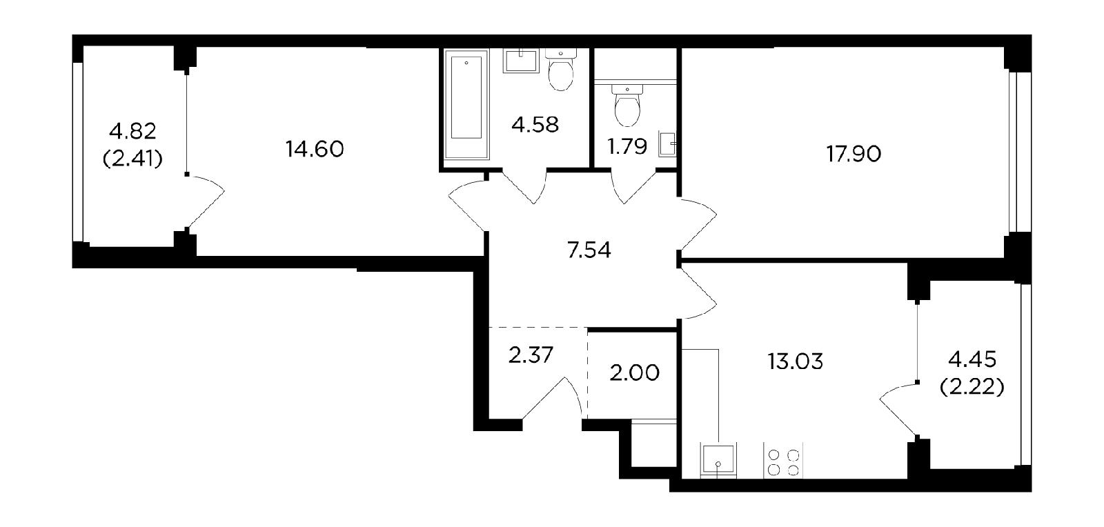 Продаётся 2-комнатная квартира в новостройке 68.1 кв.м. этаж 11/21 за 28 141 050 руб