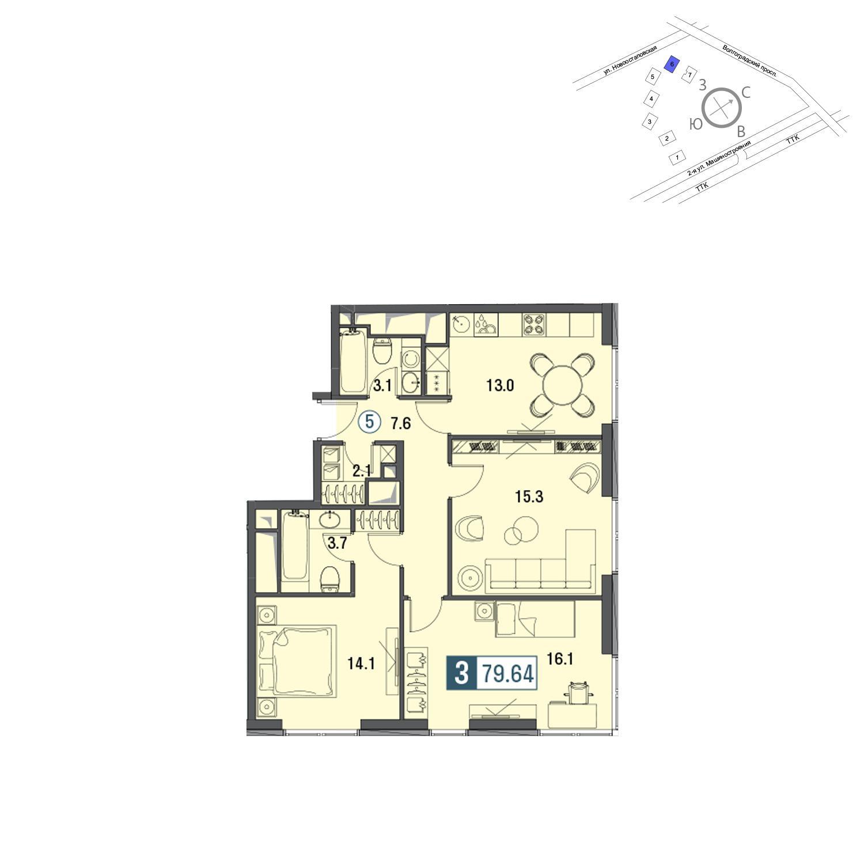 Продаётся 3-комнатная квартира в новостройке 80.1 кв.м. этаж 27/30 за 23 869 800 руб