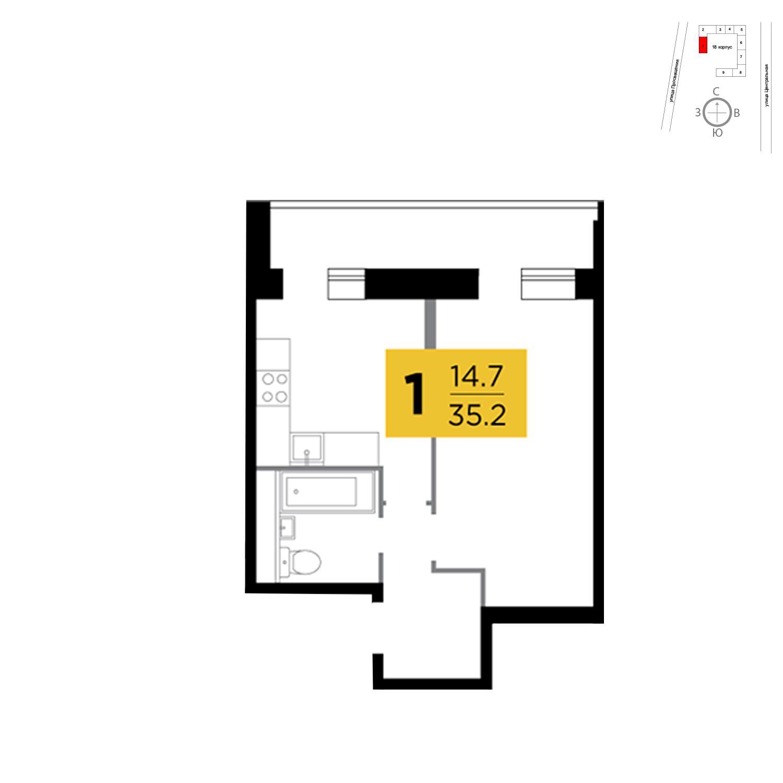 Продаётся 1-комнатная квартира в новостройке 35.2 кв.м. этаж 3/16 за 2 654 009 руб