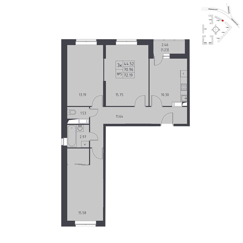 Продаётся 3-комнатная квартира в новостройке 72.2 кв.м. этаж 14/17 за 6 037 105 руб