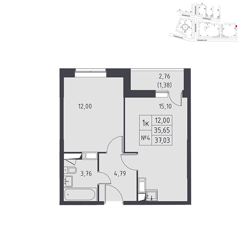 Продаётся 1-комнатная квартира в новостройке 37.0 кв.м. этаж 12/17 за 3 905 776 руб