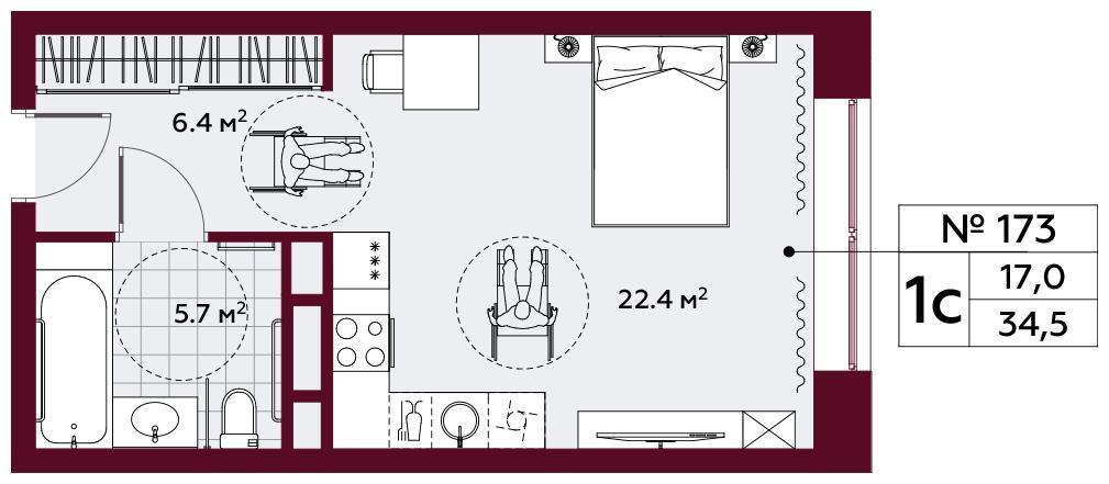 Продаётся  квартира-студия 34.5 кв.м. этаж 6/10 за 15 180 000 руб