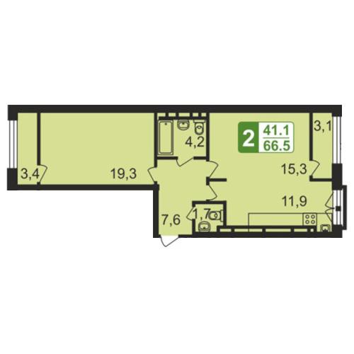 Продаётся 2-комнатная квартира в новостройке 69.1 кв.м. этаж 1/4 за 5 942 600 руб