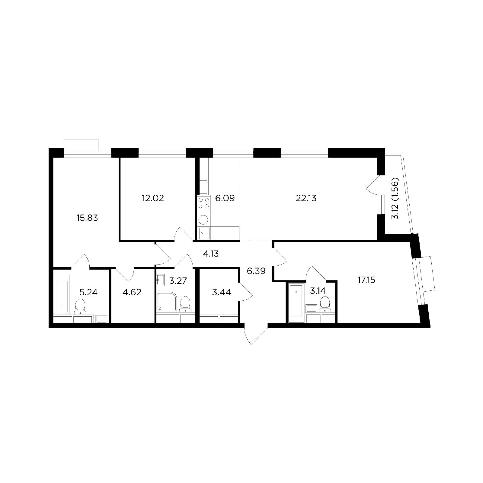 Продаётся 4-комнатная квартира в новостройке 105.0 кв.м. этаж 22/26 за 34 543 451 руб