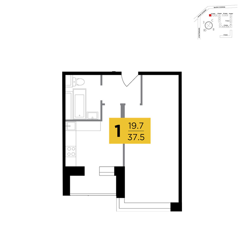 Продаётся 1-комнатная квартира в новостройке 37.5 кв.м. этаж 6/18 за 4 548 750 руб