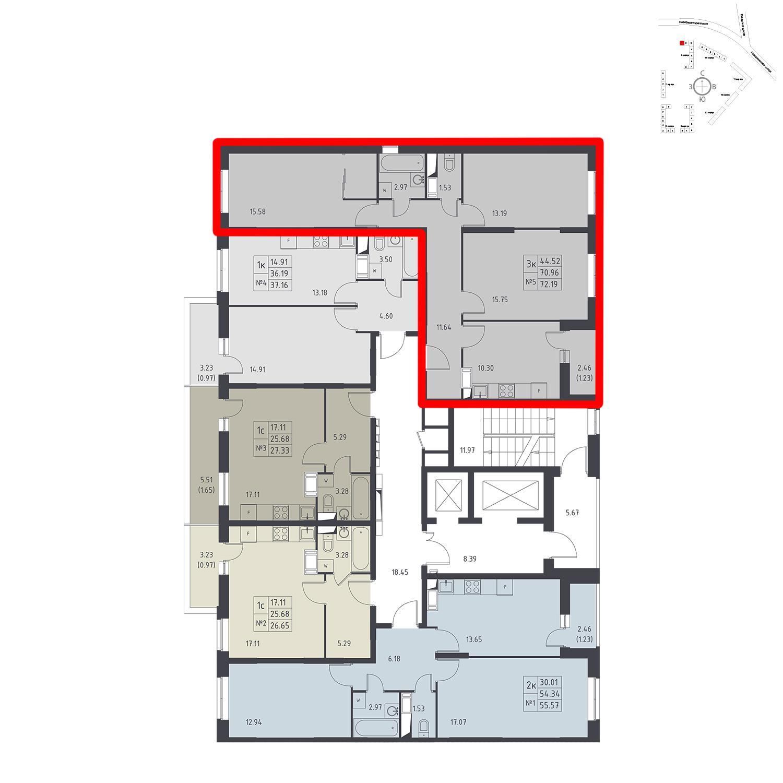 Продаётся 3-комнатная квартира в новостройке 72.2 кв.м. этаж 17/17 за 5 680 054 руб
