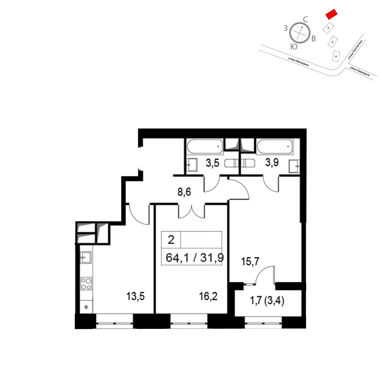 Продаётся 2-комнатная квартира в новостройке 64.1 кв.м. этаж 24/24 за 13 903 290 руб