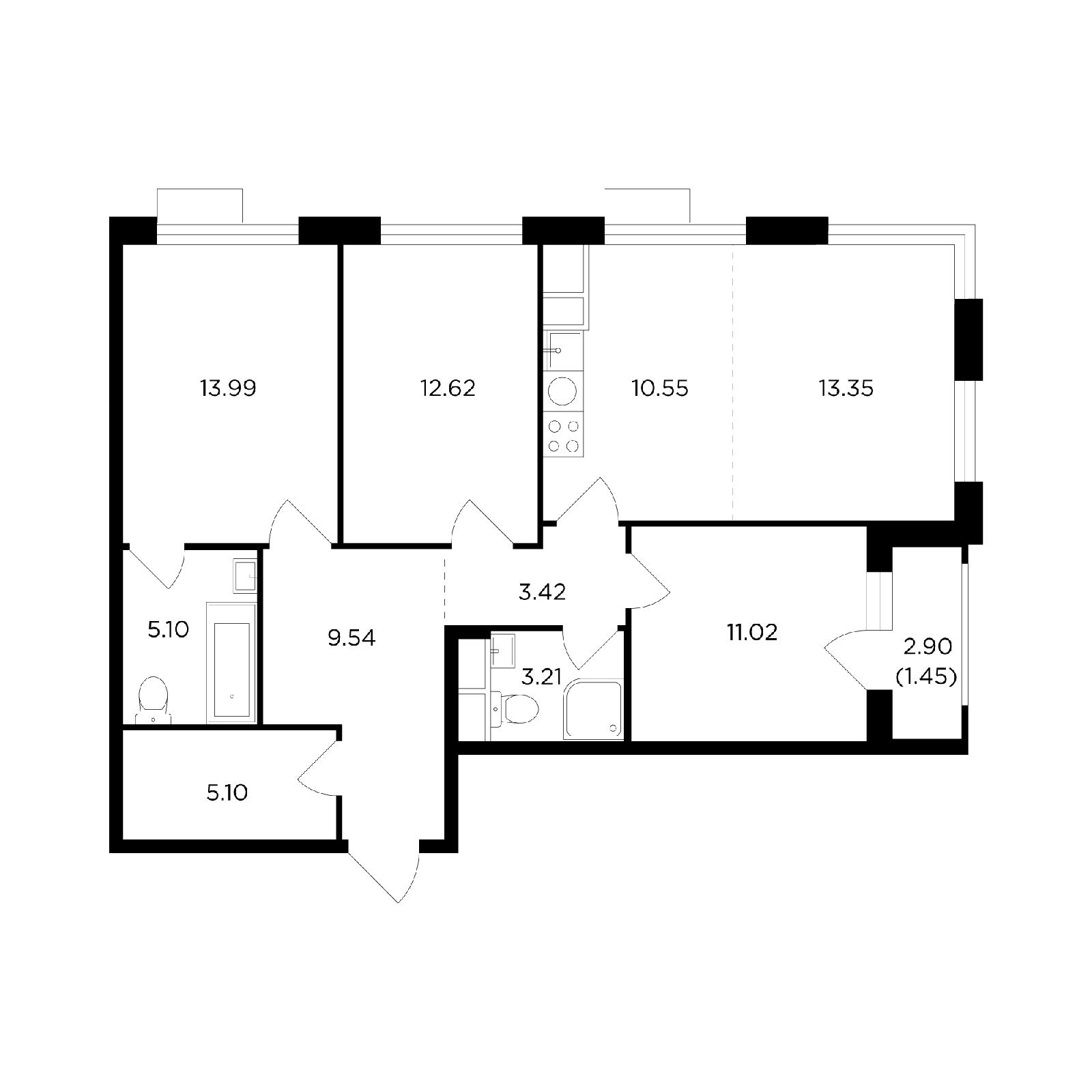 Продаётся 4-комнатная квартира в новостройке 89.4 кв.м. этаж 18/26 за 33 626 984 руб