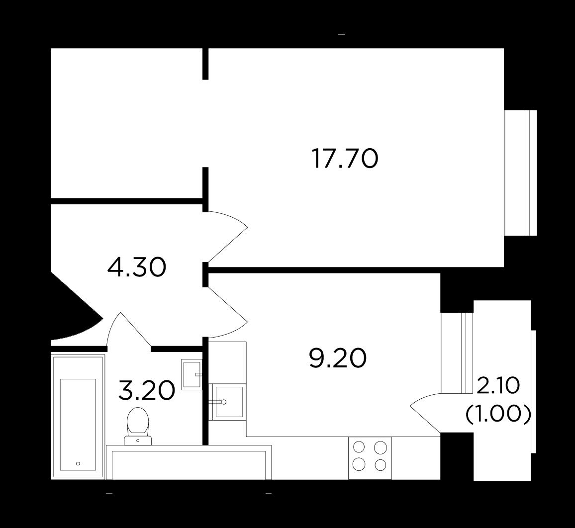 Продаётся 1-комнатная квартира в новостройке 35.4 кв.м. этаж 19/25 за 6 651 164 руб
