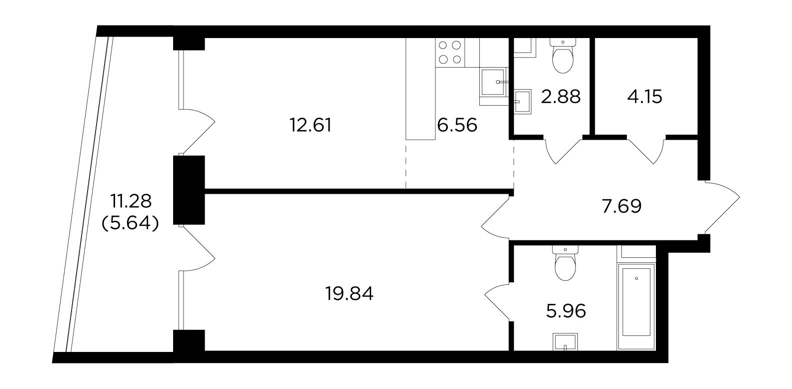 Продаётся 2-комнатная квартира в новостройке 65.3 кв.м. этаж 3/19 за 28 910 416 руб