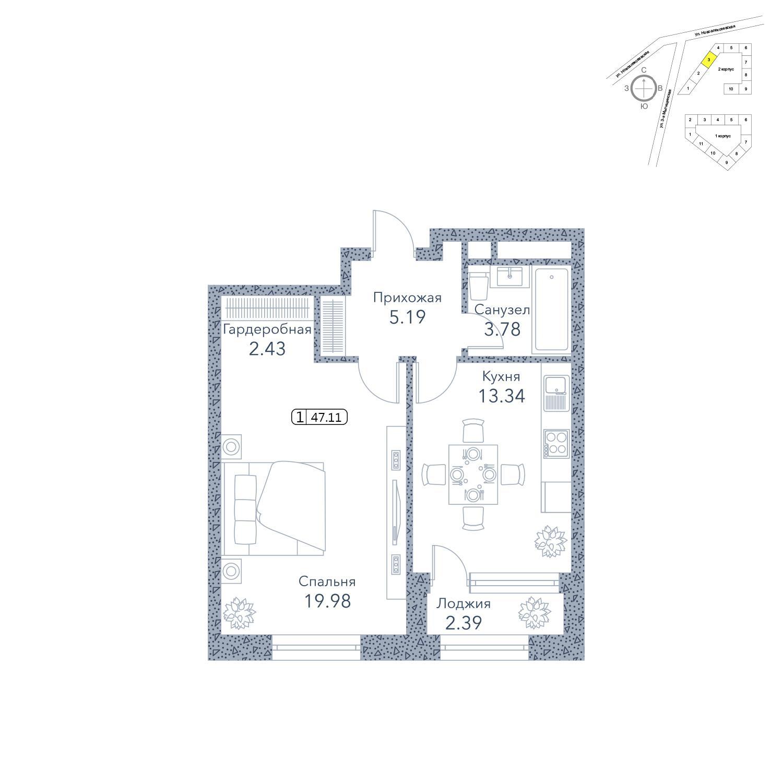 Продаётся 1-комнатная квартира в новостройке 47.1 кв.м. этаж 14/19 за 13 221 330 руб