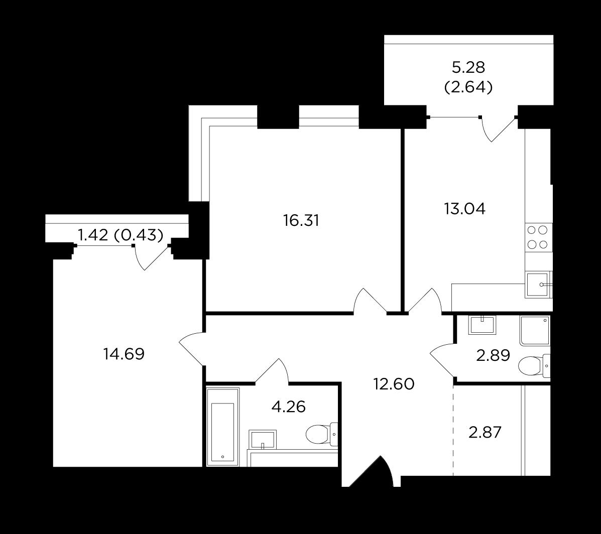 Продаётся 2-комнатная квартира в новостройке 69.7 кв.м. этаж 7/29 за 22 133 975 руб