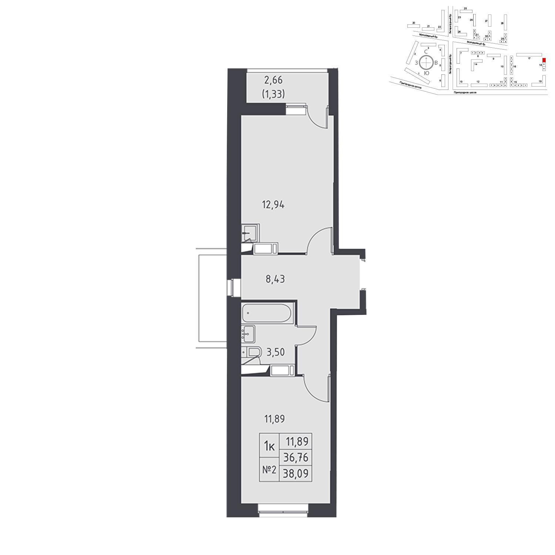 Продаётся 1-комнатная квартира в новостройке 38.1 кв.м. этаж 15/17 за 3 846 442 руб