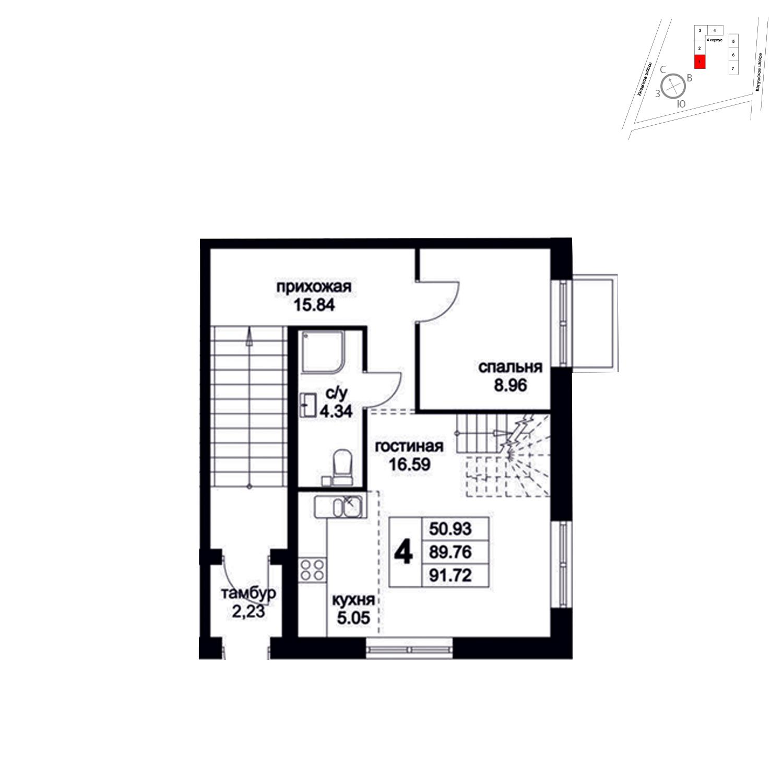 Продаётся 4-комнатная квартира в новостройке 91.7 кв.м. этаж 1/8 за 11 121 050 руб