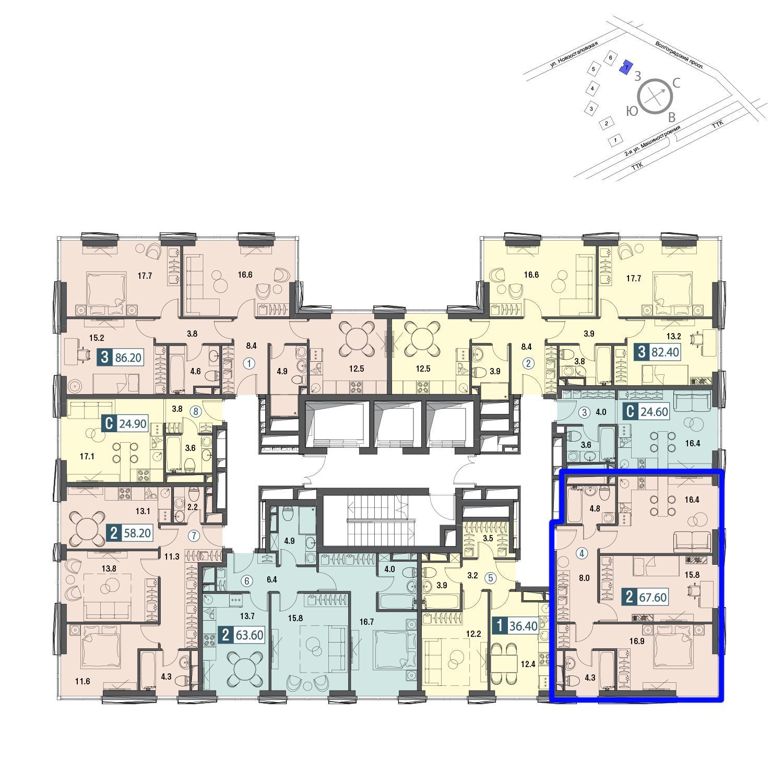 Продаётся 2-комнатная квартира в новостройке 68.8 кв.м. этаж 27/30 за 20 674 400 руб