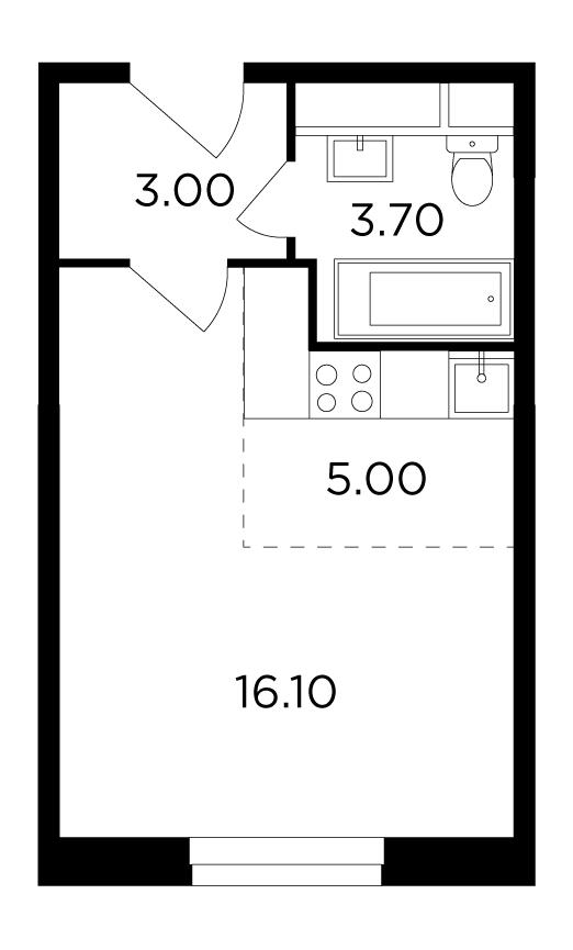 Продаётся  квартира-студия 27.8 кв.м. этаж 23/24 за 4 846 040 руб
