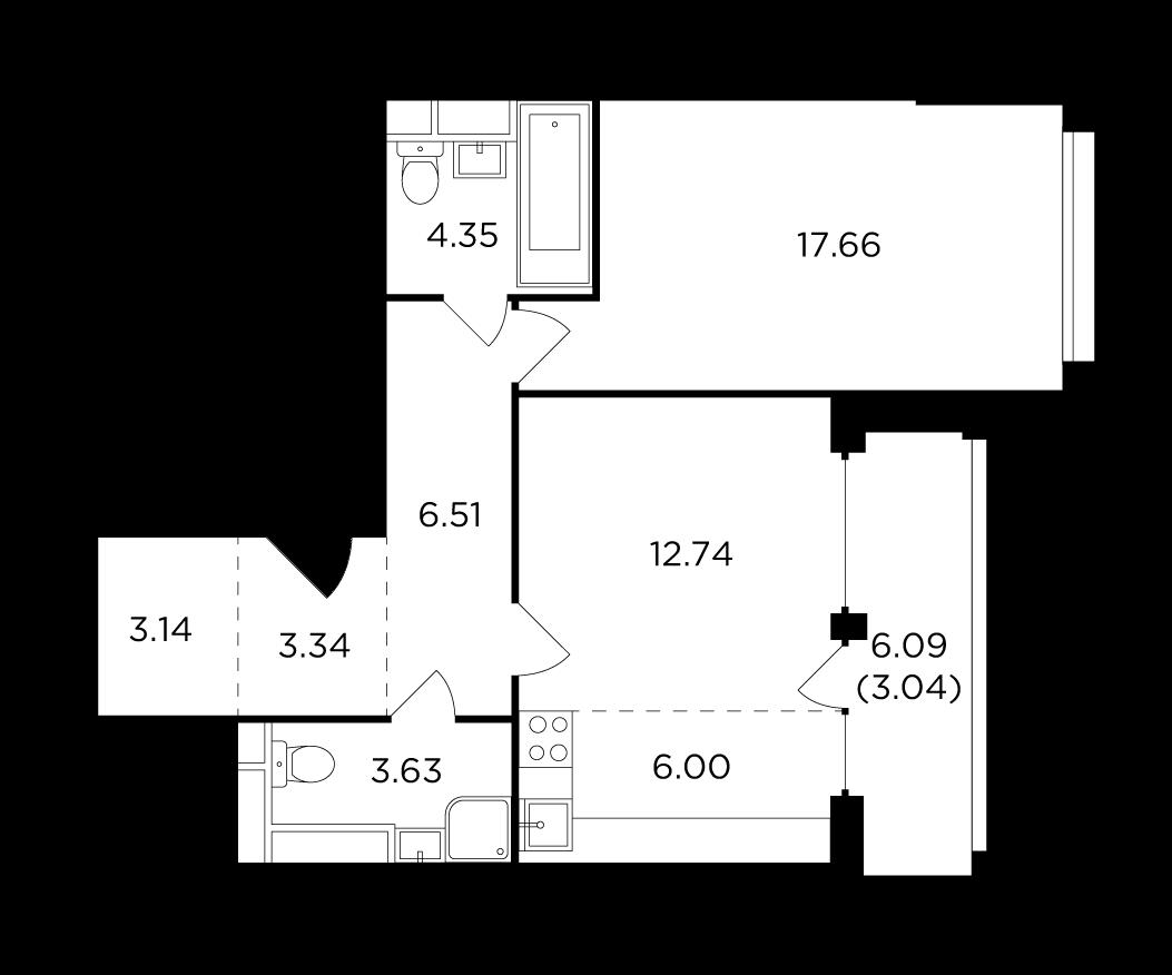 Продаётся 2-комнатная квартира в новостройке 60.4 кв.м. этаж 5/29 за 21 992 441 руб