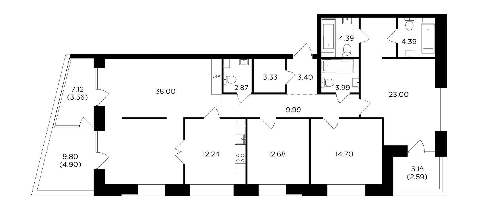 Продаётся 4-комнатная квартира в новостройке 144.0 кв.м. этаж 15/19 за 52 461 040 руб