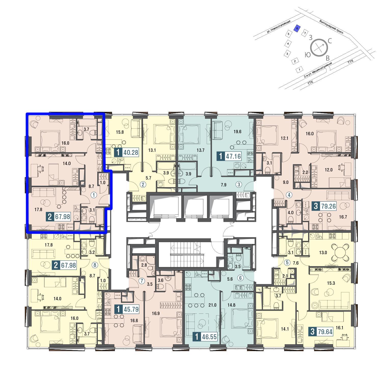 Продаётся 2-комнатная квартира в новостройке 68.6 кв.м. этаж 25/30 за 22 638 000 руб
