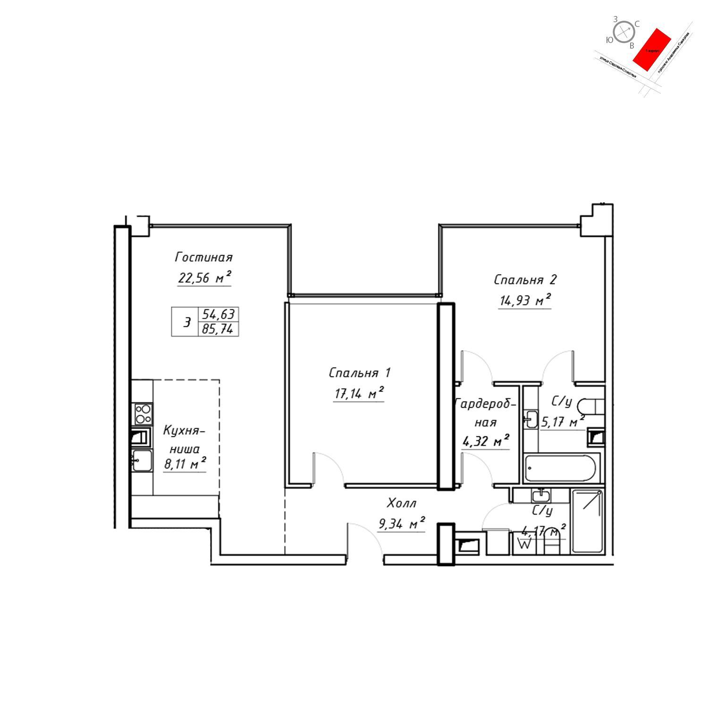 Продаётся  квартира-студия 88.3 кв.м. этаж 6/19 за 30 905 000 руб