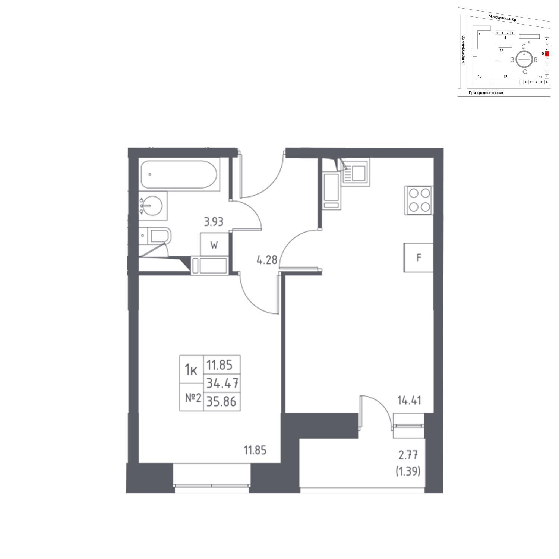 Продаётся 1-комнатная квартира в новостройке 35.9 кв.м. этаж 17/17 за 5 343 131 руб