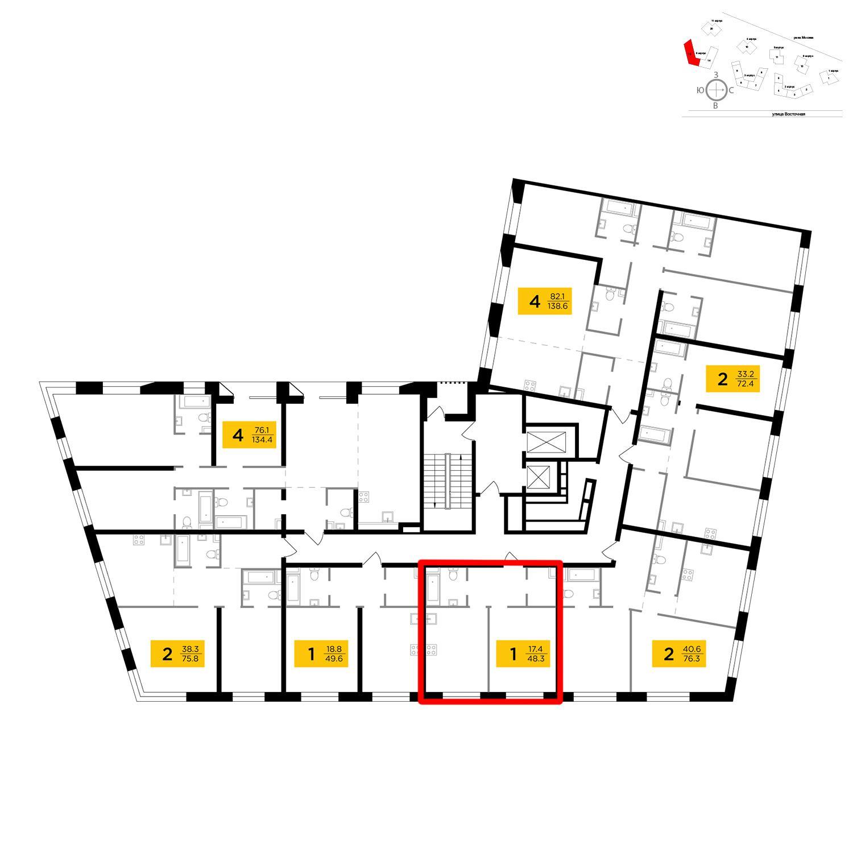 Продаётся 1-комнатная квартира в новостройке 48.3 кв.м. этаж 10/16 за 19 663 563 руб